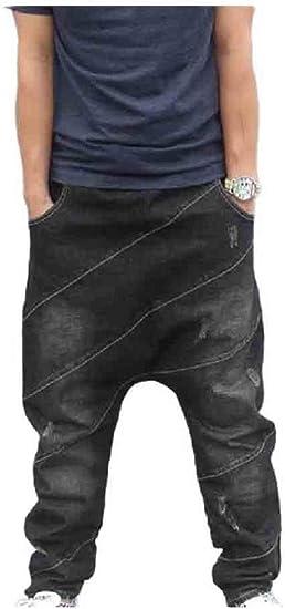 Candiyer Mens Cowboy Plus-size Tapered Harem Pants Baggy Pencil Jeans