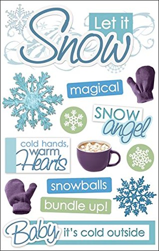(Paper House Productions STDM-0090E 3D Cardstock Stickers, Let It Snow (3-Pack))