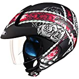 Studds Marshall D4 Open Face Helmet (Matt Black N2, XL)