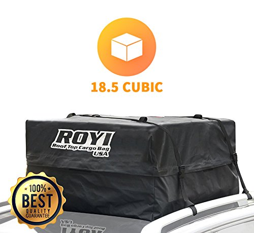 ROYI XL003 100 % Waterproof Roof Cargo BagHeavy-Duty Top Carrier Storage Box for Travel and Luggage Transportation   3-Year Warranty   Fit for the Outdoor Elements(15 Cubic Feet)