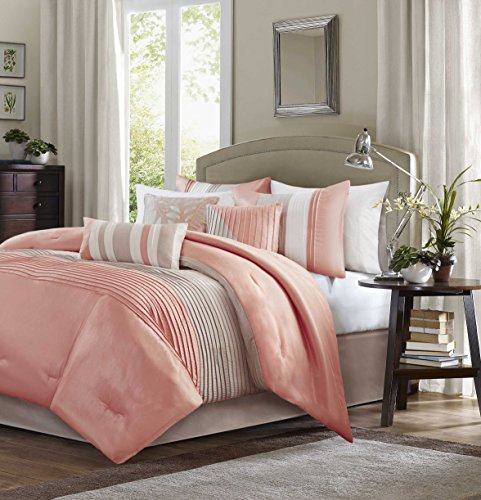 Madison Park Amherst Queen Size Bed Comforter Set Bed In A Bag - Coral, Khaki, Pieced Stripes – 7 Pieces Bedding Sets – Ultra Soft Microfiber Bedroom Comforters