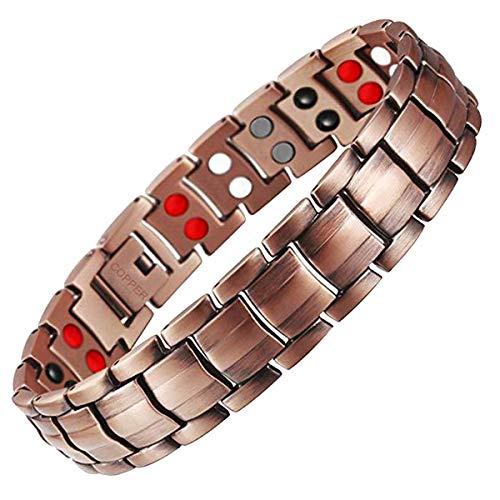 Feraco Health 4 Element Magnetic Copper Bracelet Mens 99.99% Pure Copper Magnet Bracelets for Arthritis Pain Relief