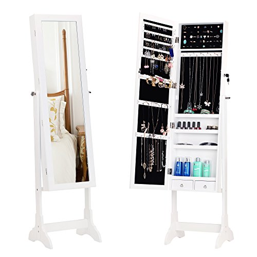 BASTUO Jewelry Cabinet Lockable Free Standing Jewelry Armoire Storage Organizer, 2 Drawers with Full Length -