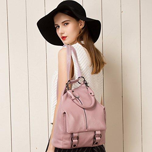 Pink Ladies Leather Daypacks Women Shoulder Genuine for Purse Bag Backpack BOYATU RUAZvnwxF