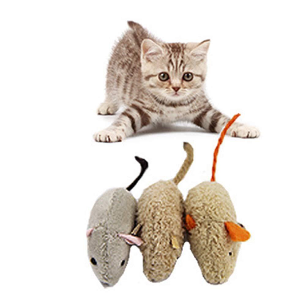 Xeminor Creative 3PCS Pet Cat Bite-Resistant Plush Imitation Mouse Game Props Toy