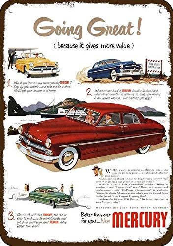 Yilooom 1950 Mercury Convertible & Hardtop Car Vintage Look Replica Metal Sign 7