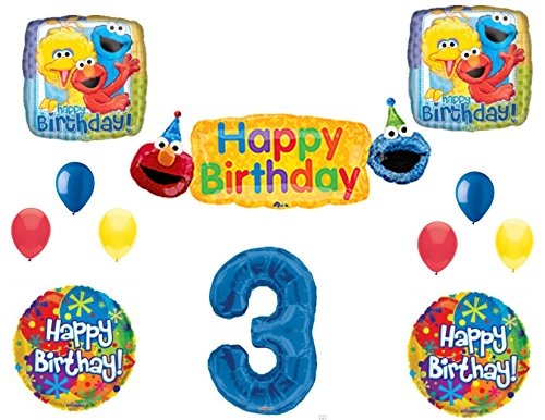- SESAME STREET 3rd Banner Happy Birthday Party Balloons Decoration Supplies Elmo Cookie Monster