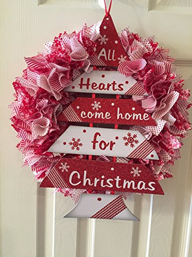 Red and White Christmas Wreath- All Hearts Come Home for Christmas