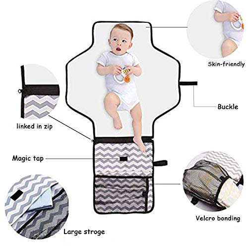 Lightweight Travel Diaper Station Kit with Waterproof and Cushioned Pad Changing Organizer Bag for Toddlers Infants /& Newborns Baby Portable Changing Pad Foldable Pad with Pockets for Diapers