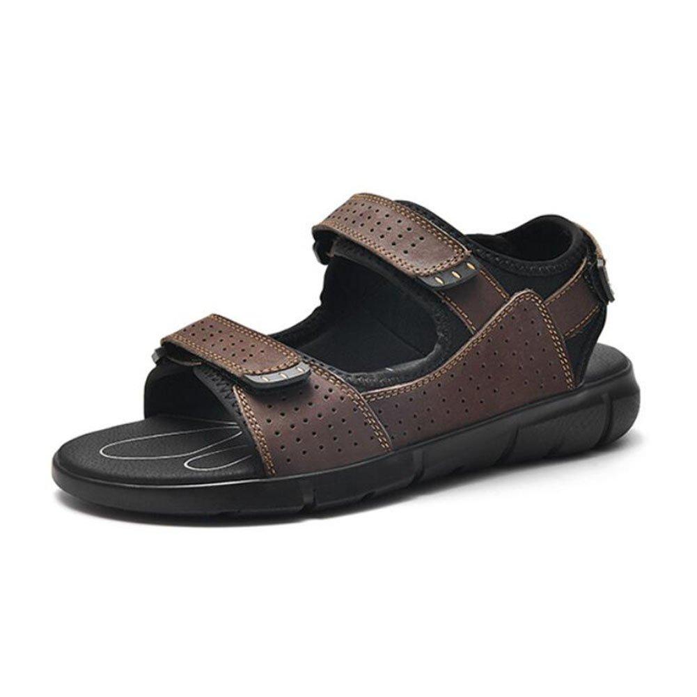 CAI Beiläufige Sandelholze Der Männer/Sommer / Leder/Strand-Schuhe/Men Fashion Große Größe 38-48 Beach/Athletic Wanderschuhe (Farbe : Braun, Größe : 46)