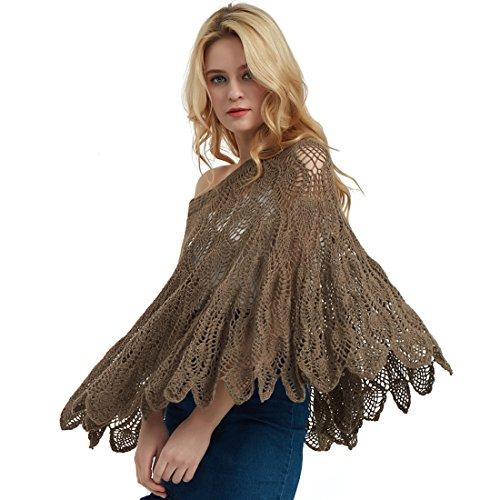 ZORJAR 100% Handmade Women's Cashmere Blend Hollow Crochet Bat Wing Sweater Top (Camel) by ZORJAR