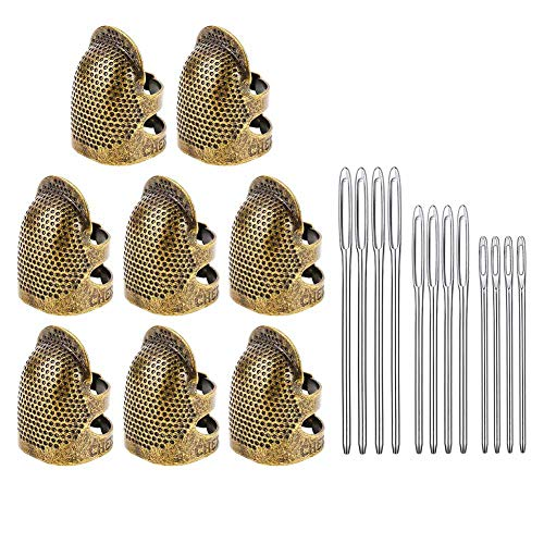 BKpearl 8 Pack Sewing Thimble Finger Protector, Copper Adjustable Fingertip Thimble Finger Metal Shield Protector with 12 pcs Sewing Quilting Needles