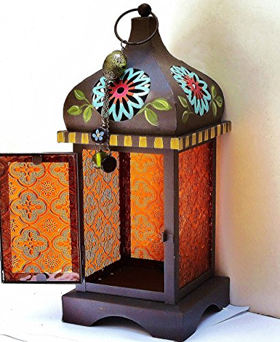 Large Metal Moroccan Bohemian Candle Lantern with Colorful Hand Painted - Votive Glass Embossed
