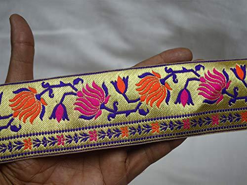 Jacquard Ribbon Wholesale - Wholesale Orange Indian Sewing Lace Sari Border Brocade Jacquard Ribbon Trim by 9 Yard Decorative Crafting Ribbon Trimmings Jacquard Border