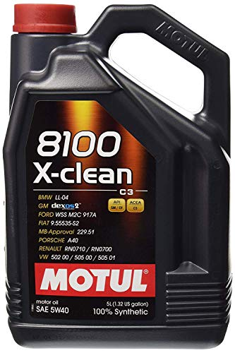 Motul (2051) 8100 X-Clean 5W-40 Synthetic Engine Oil, 5 Liter
