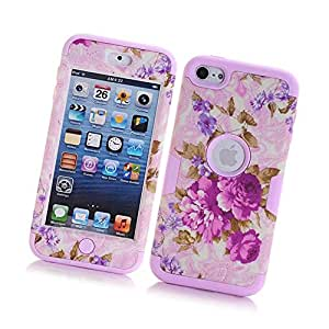 Fabcov Packing Purple Flowers Dual Layer Shockproof Rugged Pink Rubber Hard Cover Case For iPod Touch 5 6