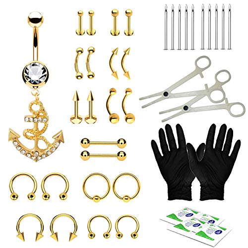 BodyJ4You 36PC PRO Piercing Kit Goldtone Steel 14G 16G Anchor Belly Ring Tongue Nipple Nose
