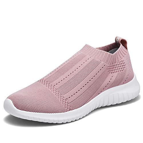 TIOSEBON Women's Walking Sock Shoes Lightweight Mesh Slip-on- Breathable Yoga Sneakers 7.5 US Mauve
