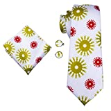 Hi-Tie Men White Vacation Pattern Tie Necktie with Cufflinks and Pocket Square Tie Set