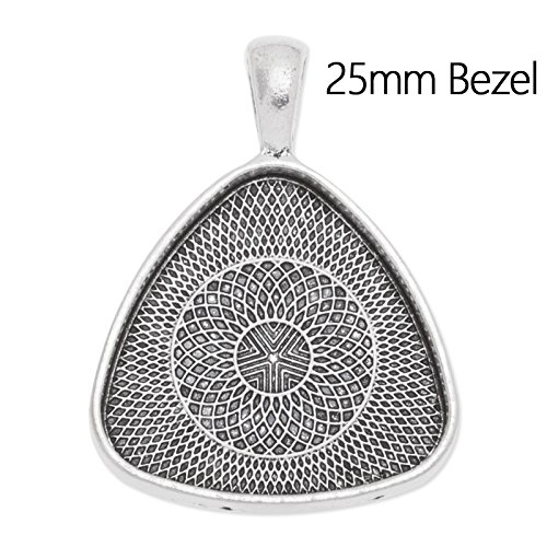 Antique Silver Plated Unique Pendant Trays with Blank Bezel fit 25mm Cabochon-20pcs/lot Rosebeading C3597