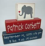 Cheap Elephant With Heart – Primitive Country Wood Stacking Sign Blocks-Personalized Custom Name and Birth Stats-Baby Gift-Birth Announcement-Baby-Boys/Girls Nursery Room Home Decor