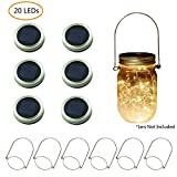 6 Pack Solar Mason Jar Lights, 20 LEDs (6 Hangers Included) String Lights with Mason Jar Ring Lids,Fit Regular Mouth Canning Jars for Christmas Patio Lantern Decor