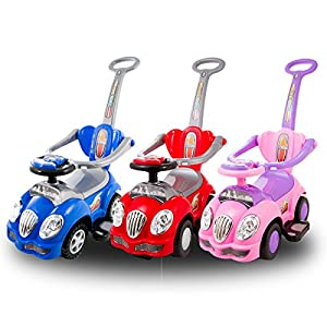 KP0558W Baby Walker RIDE ON push along CUTE CAR 3in1 with Parent Handle 3 colour
