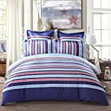 LOVO Classic Blue Stripes & Stars Print 100% Cotton 300-Thread-Count Bedding Sheet Set 4-piece Duvet Cover,Flat sheet with 2 Pillow Covers Queen