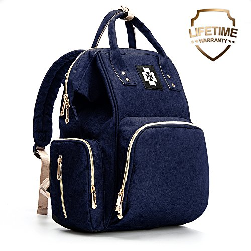 Baby Diaper Bag – Multifunctional Backpack Diaper Bag with USB Port, Waterproof Linings, Insulated Bottle Pockets, Stroller Straps and Wide-Open Design, Unisex and Durable (L, Dark Blue)