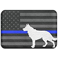 K9 Police Dog Thin Blue Line Flag Antislip Welcome Carpet Shoe Scraper Rug