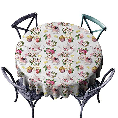 (duommhome Shabby Chic Elegance Engineered Tablecloth Roses Shabby Chic Design Vintage Teapots Flowers Leaves Cakes Lemon Art Print Indoor Outdoor Camping Picnic D39 Multicolor)