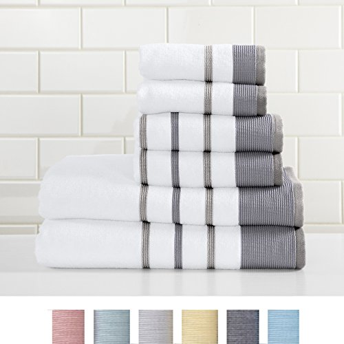 Great Bay Home 6-Piece Luxury Hotel/Spa 100% Turkish Cotton Striped Towel Set, 500 GSM. Includes Bath Towels, Hand Towels and Washcloths. Noelle Collection Brand. (Dark Grey/Light Grey)