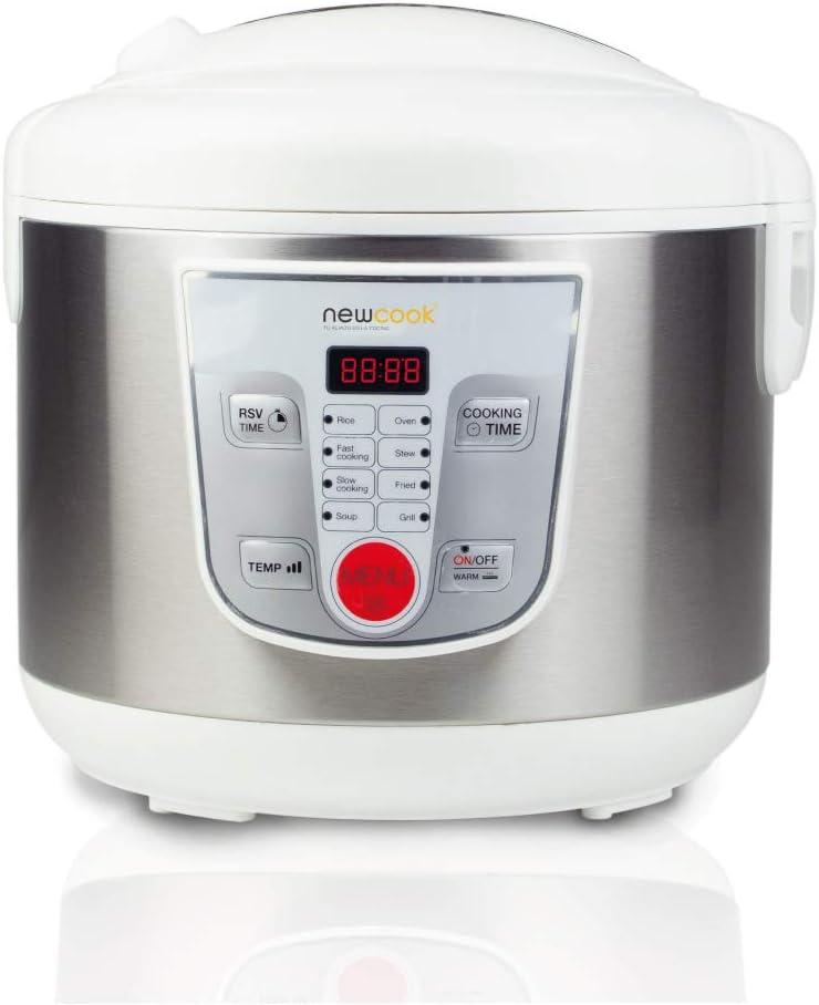 NEWCOOK Robot de Cocina Multifunción, Capacidad 5 Litros, Programable Hasta 24H, Cocina Automáticamente, 8 Menús Preconfigurados y Función Mantener Caliente Hasta 24H. Incluye Cubeta Antiadherente