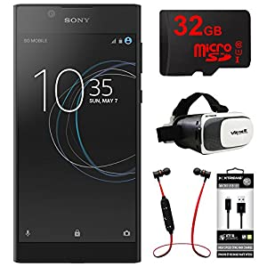 "Sony Xperia L1 16GB 5.5"" Smartphone Unlocked-Black (1308-0906) + 32GB Bundle Includes, 32GB MicroSD Memory Card, Fusion Bluetooth Headphones, VR Vue II Virtual Reality Viewer & Micro USB to USB Cable"