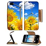 Luxlady Premium Apple iPhone 5 iphone 5S Flip Pu Leather Wallet Case iPhone5 IMAGE ID: 41300041 Sunflower field with wind turbines