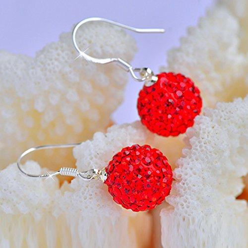 BAGEHAN S925 Silber Ohrringe Kristall Weibliche Rot Zubehör Weibliche Kristall Ohrringe Hochzeit Ohrschmuck, Durchmesser 12 mm 445c12