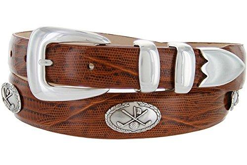 Hagora Women Genuine Italian Calfskin Golf Conchos & Silver Metal Buckle Belt,Lizard Tan 40 ()