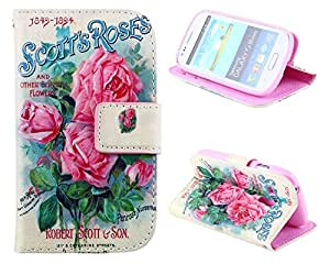 Samsung Galaxy S3 mini Case, Pink Romantic Roses Card Slot Holder Phone Case With Stand --Retail Package W Screen Protector--Valentine's Day Gift