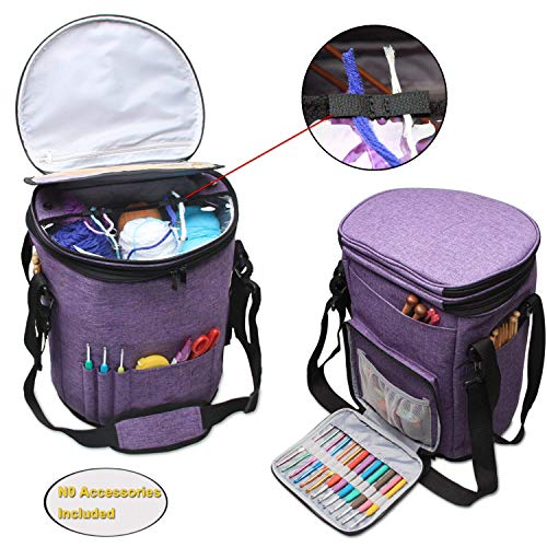 Teamoy Knitting Bag Yarn Storage, Travel Yarn Bag Organizer with Cover for Yarn Ball, Unfinished Projects, Crochet Hooks, Knitting Needles and Other Supplies, ()