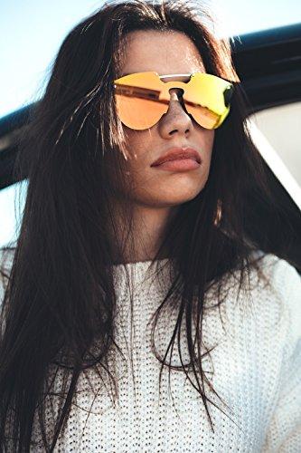 HOKUSAI mujer Gafas espejo Negro Rosa TWIG de hombre sol degradadas H0qtq6rAw