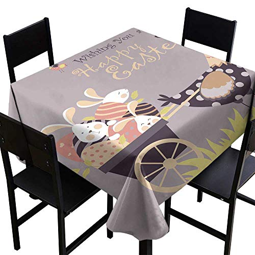 Vintage tablecloths Easter Bunnies Chicken and Easter Eggs,W54 x L54 for Kitchen -