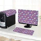 Auraisehome One Machine LCD Monitor Keyboard Cover and Rainbows Diamonds Wand Pattern Nursery