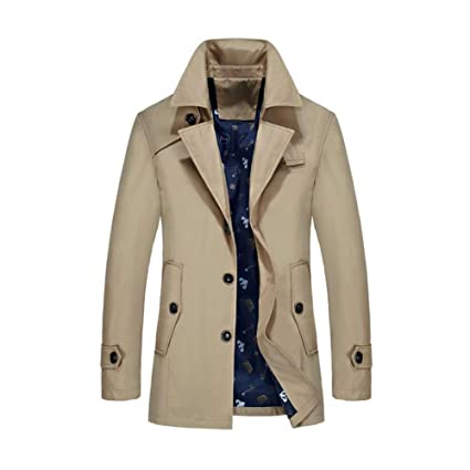 c805c792429 YaXuan New Mens Trench Coat,Fashion Designer Man Medium-Long Spring Autumn  Slim Jacket