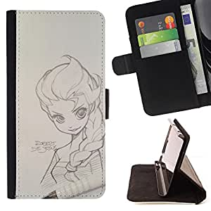 - Queen Pattern FOR HTC One M7 /La identificaci????n del cr????dito ranuras para tarjetas tir????n de la caja Cartera de cuero cubie - pencil magna sketch drawing art girl -