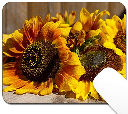 MSD Mouse Pad with Design - Non-Slip Gaming Mouse Pad - Image ID 32455065 Beautiful Sunflowers on Wooden Bench Outdoors