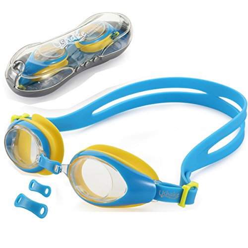 Kids Swim Goggles, UShake Anti-fog UV Protection Soft Silicone Frame Swimming Goggles with Clear Lenses, Easy to Use for Kids and Early Teens