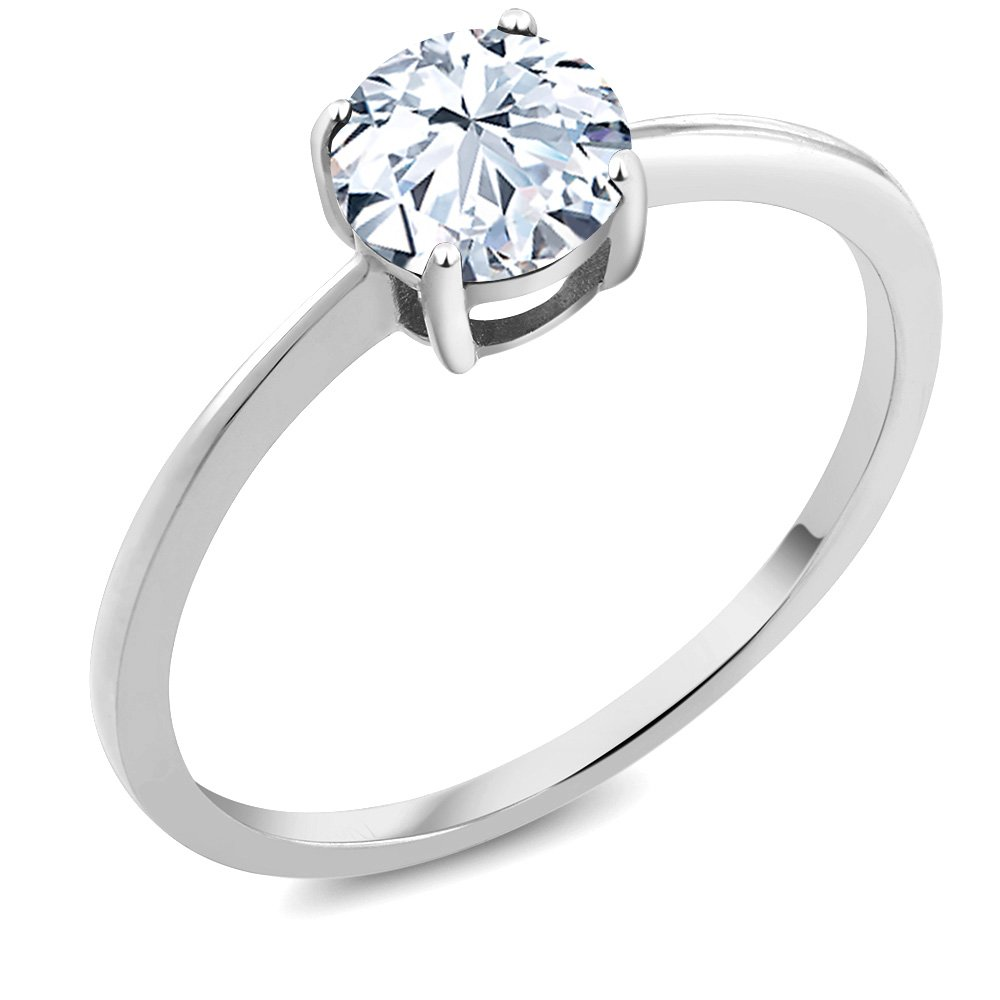 10K White Gold Engagement Promise Ring 1.20 Ct Round White Created Sapphire (Size 5)