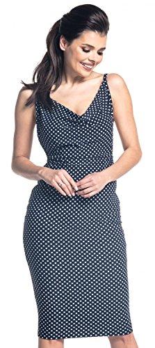 Zeta Ville - Vestido sedoso de elástico tirantes finos midi - para mujer - 215z Marina de guerra con puntos