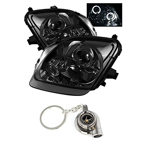 (Honda Prelude Projector Headlights LED Halo Chrome Housing With Smoke Lens + Free Gift Key Chain Spinning Turbo Bearing)