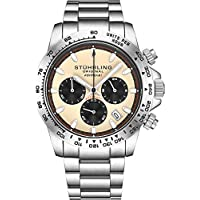 "Stuhrling Original Mens Sport Chronograph Watch - Stainless Steel Brushed Matte Bracelet, 891 Formula""i"" Watches Collection (Beige)"